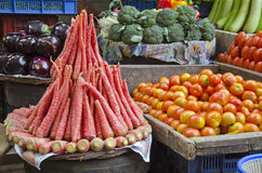 Various vegetables in asia bazaar, India stock photo