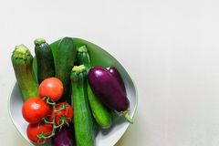 Various vegetables - aubergine, zucchini and tomatoes. stock image