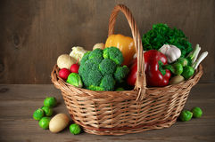 Various vegetables in basket Stock Photos
