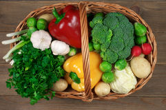 Various vegetables in basket stock photography