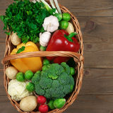 Various vegetables in basket Stock Images