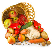 Various vegetables in a basket closeup Stock Photo
