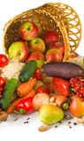 Various vegetables in a basket closeup Royalty Free Stock Image