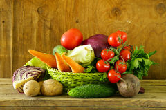 Various vegetables (carrots, potatoes, cabbage, tomatoes) Royalty Free Stock Image