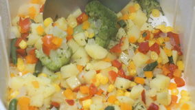 Various vegetables are cooked in the electric white double boiler. Various vegetables are cooked in the electric white steamer. The tablespoon stirs vegetables stock video