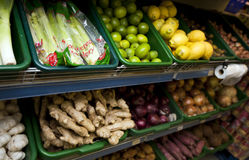 Various vegetables on display in grocery store Stock Image