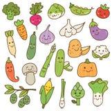 Various vegetables doodle kawaii design element stock illustration