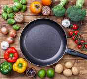 Various vegetables fruits and herbs with a frying pan Royalty Free Stock Images