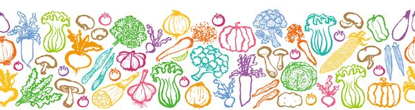 Various vegetables. Hand drawn illustrations Stock Image