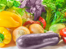 Various vegetables and herbs. Various fresh vegetables and herbs on a light background. Isolation Stock Photo