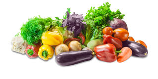 Various vegetables and herbs. Various fresh vegetables and herbs on a light background. Isolation Stock Images