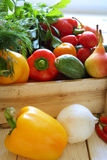 Various Vegetables In Wooden Crate Stock Photos