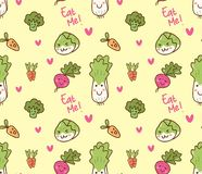 Various vegetables kawaii seamless pattern royalty free illustration