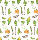 Various vegetables kawaii seamless pattern stock illustration