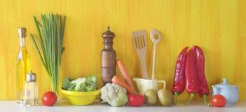 Various vegetables and kitchen utensil stock photo