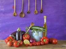 Various vegetables and kitchen utensils, Stock Photography