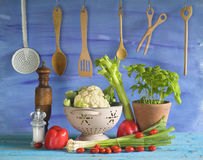 Various vegetables and kitchen utensils Stock Photos