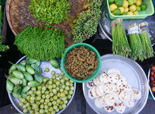 Various vegetables at the local market in Myanmar Stock Photos