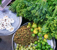 Various vegetables at the local market in Myanmar Stock Photography