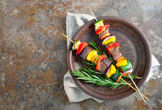 Various vegetables and meat kebabs Stock Image