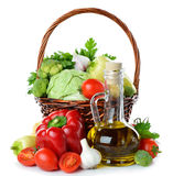 Various vegetables and olive oil Royalty Free Stock Photo