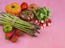 Various vegetables on pink background Stock Photography
