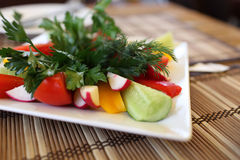 Various vegetables on plate Stock Photography