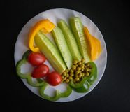 Various vegetables on a plate. Royalty Free Stock Photos