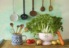 Various vegetables plus kitchen equipment Royalty Free Stock Photography