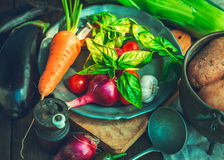 Various vegetables on rustic table Stock Photography