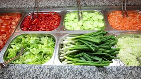 Various vegetables and salads. Swedish buffet catering stock video