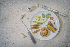Selection of Healthy Snacks on White Plate royalty free stock photography