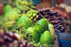 Various vegetables at vegetable market. India Stock Photo
