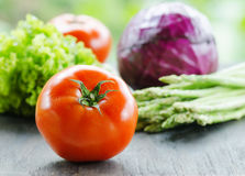 Various vegetables on wooden table Royalty Free Stock Images