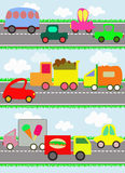 Various vehicles and toy cars on the road for chil Royalty Free Stock Photos