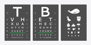 Eyes test chart. Various versions of the table for eye tests the adult and children`s options  on white background. Vision test board optometrist Stock Photography