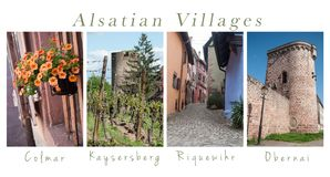 Alsatian villages - collage with text. Various views of Alsatian villages - collage with text stock photo