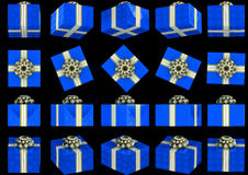 Various views of blue gift box Royalty Free Stock Images
