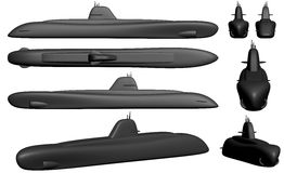 Various views of a fictive nuclear submarine Royalty Free Stock Photo