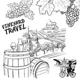 Various Vineyard Travel Concept Sketches Royalty Free Stock Image