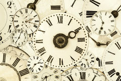Various vintage clock faces Stock Image