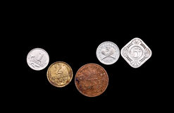 Various vintage coins isolated on black Royalty Free Stock Photos