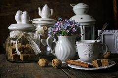 Vintage tea table concept. Various vintage elements on old worn backgrounds different concepts Royalty Free Stock Photography