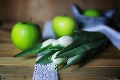 White tulip apple wooden stock photography