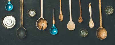 Free Various Vintage Kitchen Spoons And Baking Tin Molds, Top View Stock Images - 108017744