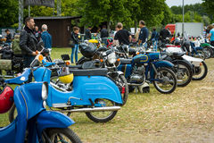 Various vintage motorcycles Stock Photography