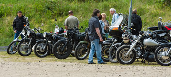 Various vintage motorcycles Stock Image