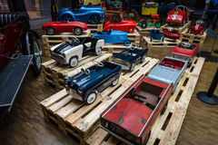Various of vintage pedal cars. Royalty Free Stock Images