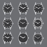 Various watch case and dials with hands Royalty Free Stock Image