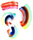 Various watercolor shapes. Abstract circular watercolor shapes and brush strokes in many colors royalty free illustration